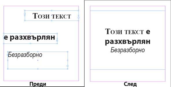 Обединявайте текстови карета в Indesign
