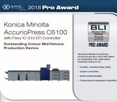 Konica Minolta AccurioPress C6100 спечели награда на BLI Pro Award 2018.