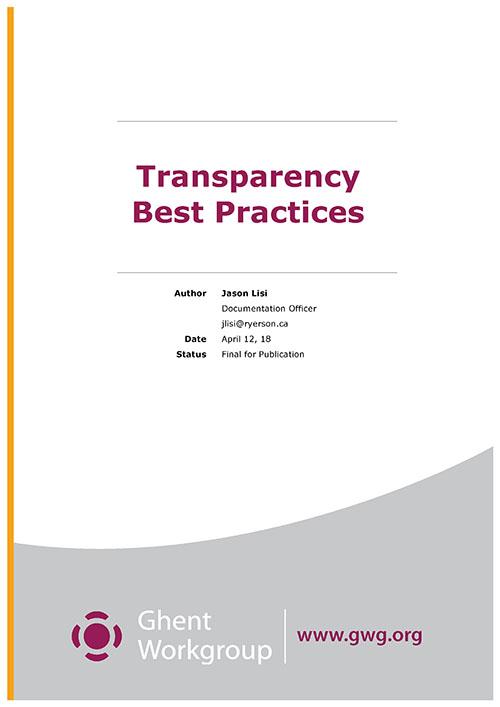 Нов документ, посветен на прозрачността от работната група Ghent