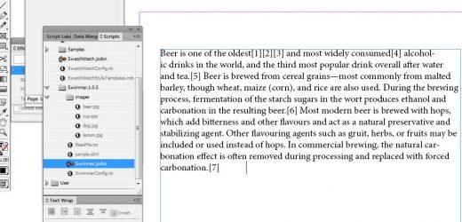 Swimmer позволява подмяна на текст с изображения в Indesign