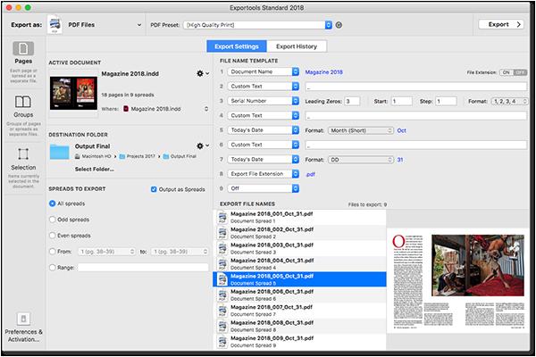 Запис на едностранични файлове и извличане на ресурси от Indesign с Exportools