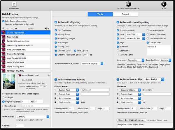 Масов печат, експорт и проверка за Adobe InDesign и QuarkXPress с Printools