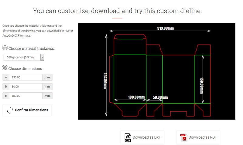 Die cut templates – онлайн решение за параметрични щанци за кутии