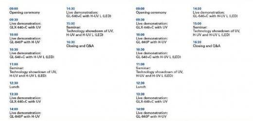 Демонстрации на технологии – UV, H-UV, H-UV L(LED) на пълен формат