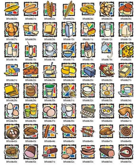 Векторни изображения на основни храни и елементи, свързани с комуникациите