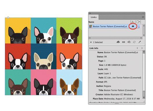 Нови икони в панела за връзки на InDesign