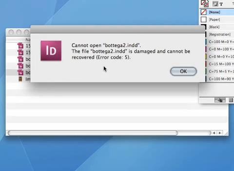 Възстановяване на повредени файлове за InDesign