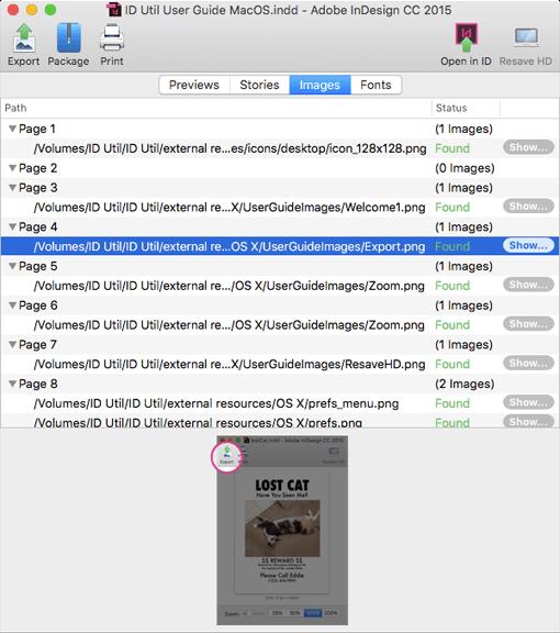 Разглеждайте файлове за InDesign с ID Util за MacOS