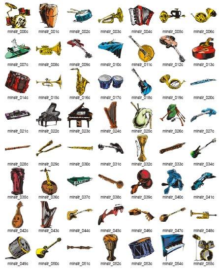 Векторни изображения на музикални инструменти