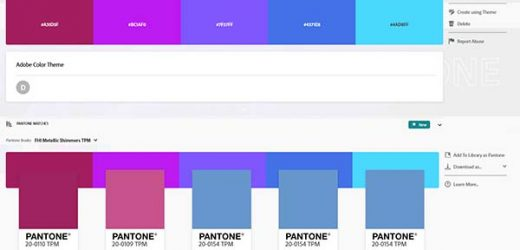 Pantone теми за Adobe Color и Creative Cloud библиотеките