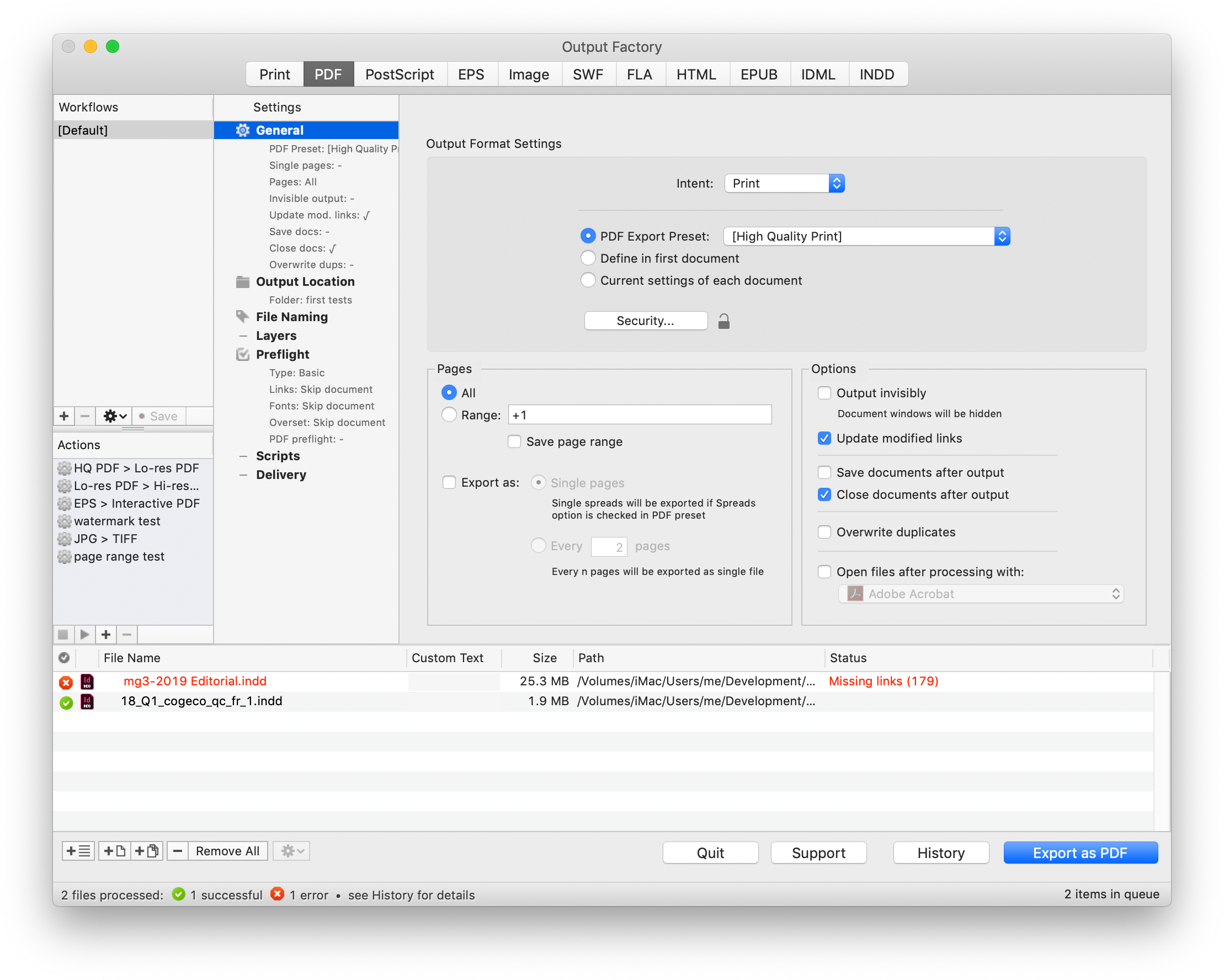 Автоматизирайте печата и експорта на файлове от InDesign