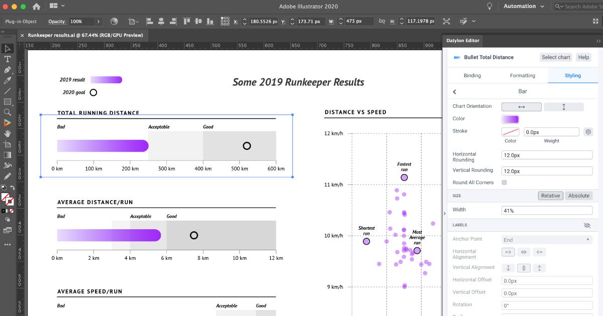 Създаване и визуализация на диаграми с Datylon за Illustrator