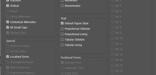 Скрипт събира на едно място типографските опции на Opentype шрифтовете
